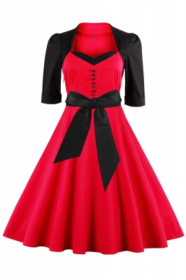 1/2 Sleeve 1950S Red and Black Retro Dress_1