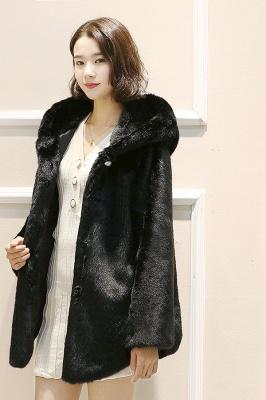 Black Cape Type Hooded Faux Fur Coat_7