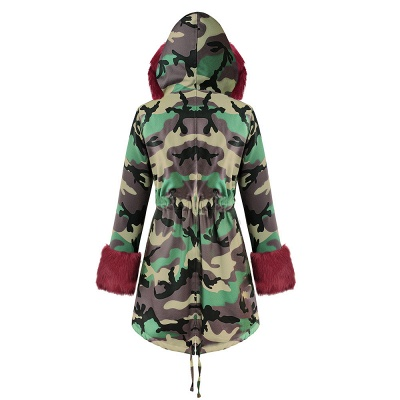 Camo Military Premium Fur Trim Parka Coat with Faux Fur Hood_38
