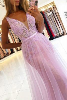 Straps A-line Backless V-neck Lace Tulle Prom Dresses_3