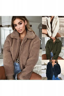 Thick Oversized Faux Shearling Coat with Zipper_8