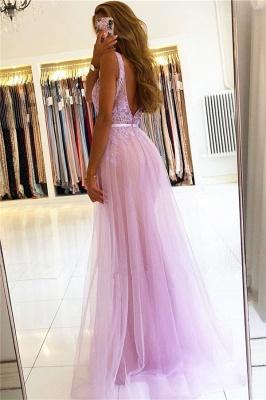 Straps A-line Backless V-neck Lace Tulle Prom Dresses_2