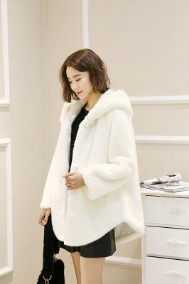 Black Cape Type Hooded Faux Fur Coat_11