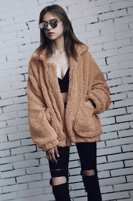 Oversize Fuzzy Jacket in Brown with Zipper