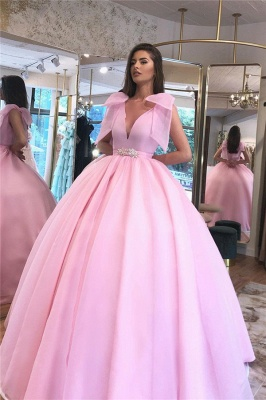 Glamorous V-neck Belted Tied Shoulder Ball Gown Prom Dresses_3