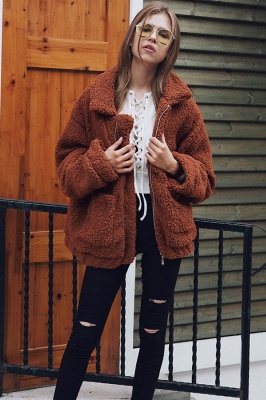 Oversize Fuzzy Jacket in Brown with Zipper_32