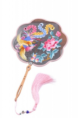 Chinese Traditional Double-Sided Su Embroidery Round Fan With Tassel Pendant_1