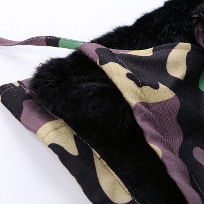 Camo Military Premium Fur Trim Parka Coat with Faux Fur Hood_24