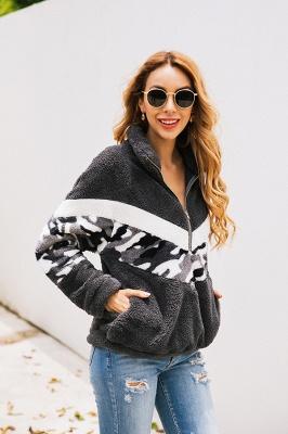 Womens Fuzzy  Halp Zip Fleece Winter Sherpa Sweaters Pullovers_6