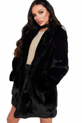 Yellow Stick Up Neckline Medium Long Fuzzy Coat_16