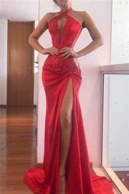 Sexy Sleeveless Keyhole Side Slit Sweep Train Prom Dresses_1