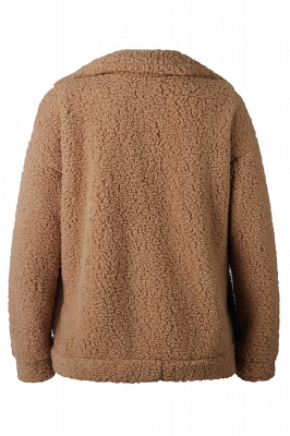 Oversize Fuzzy Jacket in Brown with Zipper_8