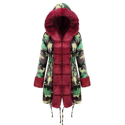Camo Military Premium Fur Trim Parka Coat with Faux Fur Hood_31