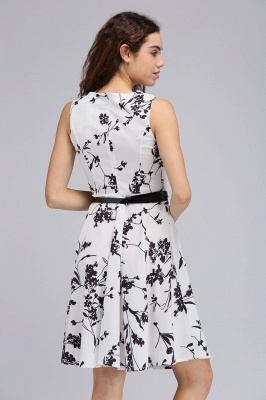 Sleeveless Belted Floral Printed Short Dress_14