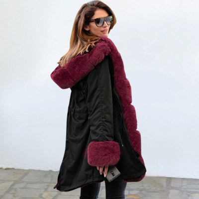 Premium Fur Trimmed Parka Coat with Faux Fur Hood_18