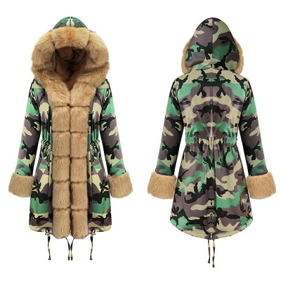 Camo Military Premium Fur Trim Parka Coat with Faux Fur Hood_13