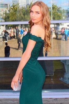 Elegant Off the Shoulder Mermaid Lace Appliques Prom Dresses_3