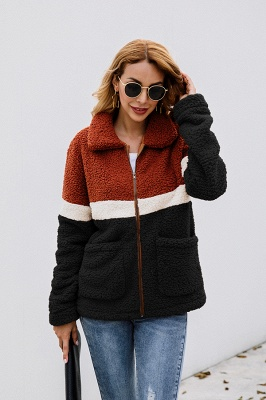 Women's Winter Multi Color Patchwork Faux Shearling Coat_10