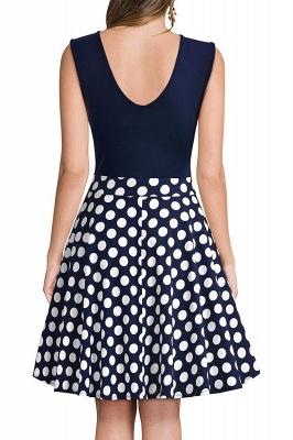 V-neck Sleeveless Above Knee Patchwork Dress_16