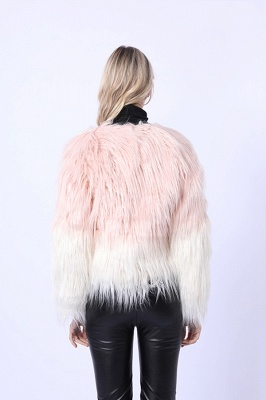 Women's Lovely Pink Faux Fur Duster Coat_4