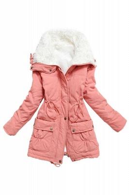 Women's Fashion Hunt Lamb Wool Collar Parka Coat_1