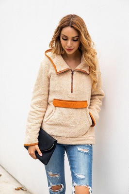 Women's Fall Winter Halp Zip Fuzzy Pullovers With Pockets_8