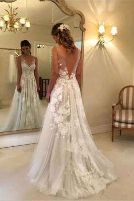 Stunning Rose A-line Wedding Dresses | V-Neck Appliques Bridal Gowns_3