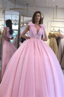 Glamorous V-neck Belted Tied Shoulder Ball Gown Prom Dresses_2