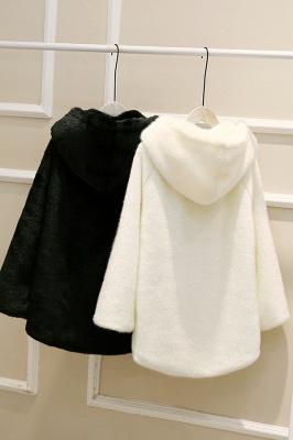 Black Cape Type Hooded Faux Fur Coat_27
