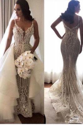 Glamorous Spaghetti Straps Sleeveless Sexy Mermaid Lace Appliques Wedding Dress_2