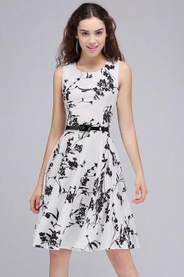 Sleeveless Belted Floral Printed Short Dress_19