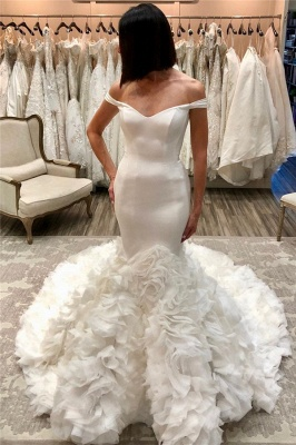 Stunning Off the Shoulder Mermaid Wedding Dresses   Gorgeous Bridal Gowns with Flower Court Train_2