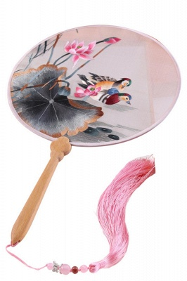 Traditional Double-Sided Hand-Embroidered Chinese Circular Fan With Hand Tassels