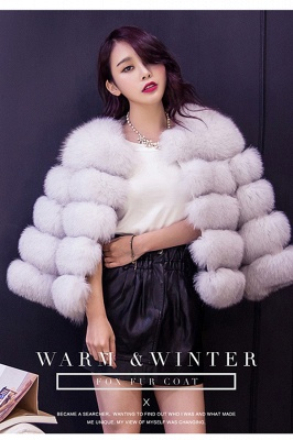 Tiered Fox Fur Coat with Full Fur Collar and Cuffs_27