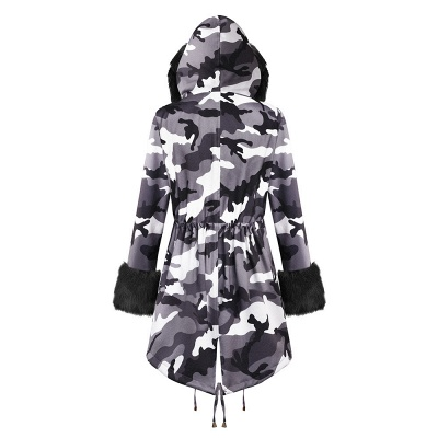 Camo Military Fur Lined Parka Coat with Faux Fur Hood_22