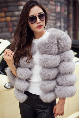 Tiered Fox Fur Coat with Full Fur Collar and Cuffs_36