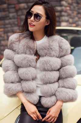 Tiered Fox Fur Coat with Full Fur Collar and Cuffs_43
