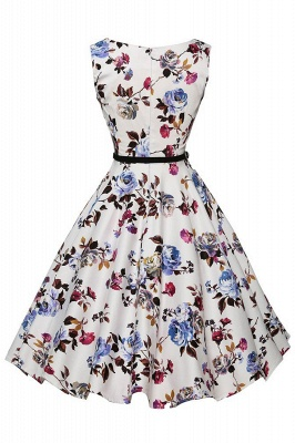 Sleeveless Belted Floral Printed Short Dress_4