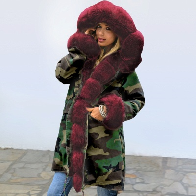 Camo Military Premium Fur Trim Parka Coat with Faux Fur Hood_6