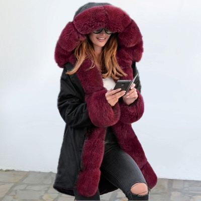 Premium Fur Trimmed Parka Coat with Faux Fur Hood_6