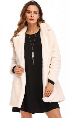 Yellow Stick Up Neckline Medium Long Fuzzy Coat_2