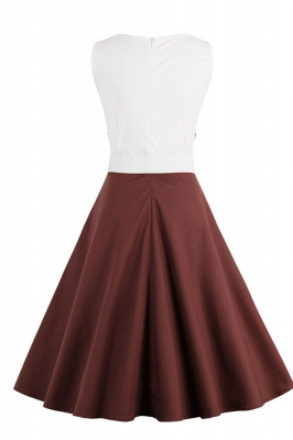 1950S Belted Brown and White Patchwork Retro Dress_34