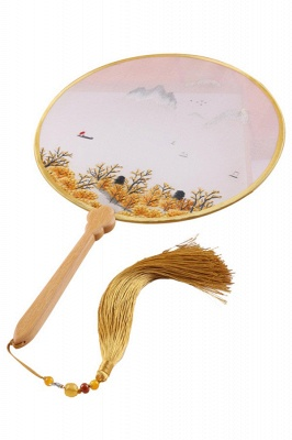 Classic Double-faced Hand-Embroidered Chinese Circular Fan With Tassel Pendant