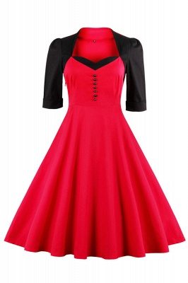 1/2 Sleeve 1950S Red and Black Retro Dress