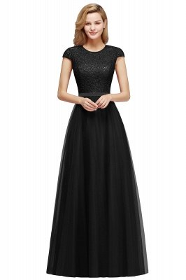 Cheap A-line Jewel Tulle Lace Bridesmaid Dress in Stock_5