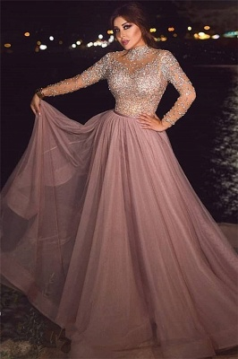 High neck Long Sleeves A-line Beaded Tulle Prom Dresses