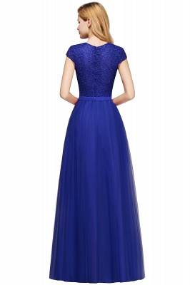 Cheap A-line Jewel Tulle Lace Bridesmaid Dress in Stock_19