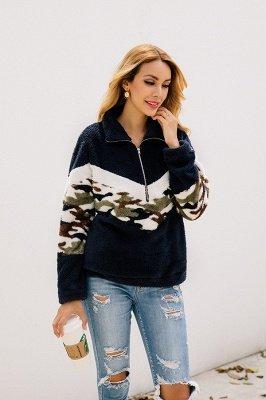 Womens Fuzzy  Halp Zip Fleece Winter Sherpa Sweaters Pullovers_11