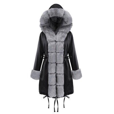 Premium Fur Trimmed Parka Coat with Faux Fur Hood_32