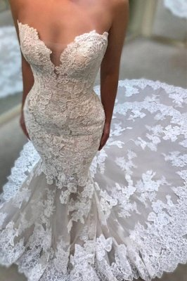 Glamorous Sweetheart Wedding Dresses | Lace Appliques Sleeveless Bridal Gowns_2